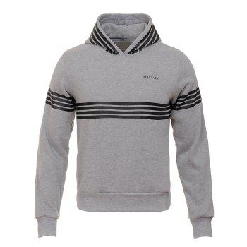 Stripe Design Hooded Flocking Hoodie