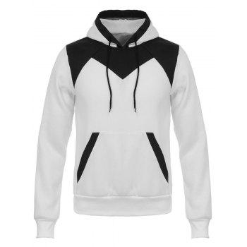 Buy Color Block Design Hooded Flocking Hoodie WHITE