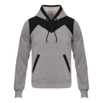 Color Block Design Hooded Flocking Hoodie