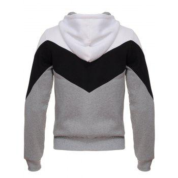 Color Block Splicing Hooded Zip Up Flocking Hoodie - GRAY XL