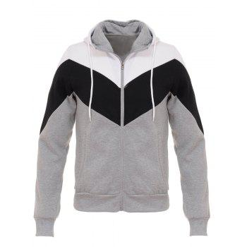 Color Block Splicing Hooded Zip Up Flocking Hoodie