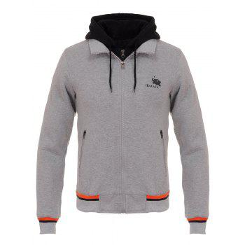 Color Block Faux Twinset Hooded Zip Up Flocking Hoodie - GRAY GRAY