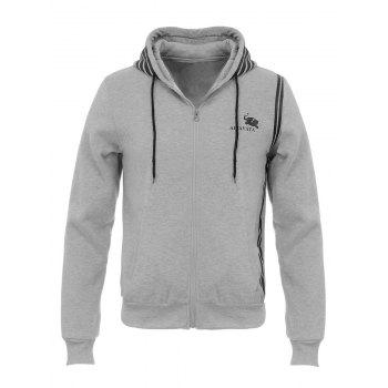 Stripe Design Hooded Flocking Zip Up Hoodie