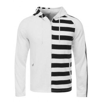 Unilateral Stripe Design Hooded Flocking Zip Up Hoodie