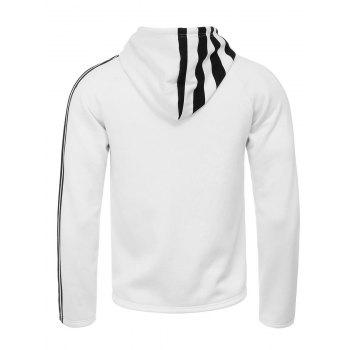 Unilateral Stripe Design Hooded Flocking Zip Up Hoodie - WHITE WHITE