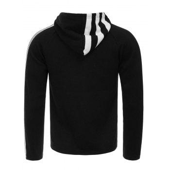 Unilateral Stripe Design Hooded Flocking Zip Up Hoodie - BLACK S