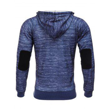 Elbow Patch Hooded Zipper Design Flocking Hoodie - ROYAL S