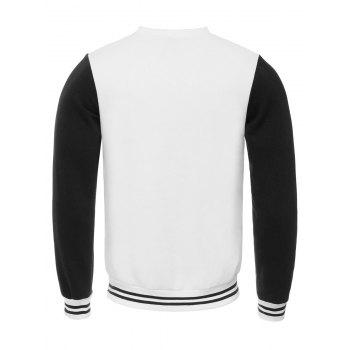 Elephant Print Crew Neck Stripe Spliced Flocking Sweatshirt - WHITE L