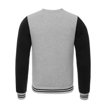 Elephant Print Crew Neck Stripe Spliced Flocking Sweatshirt - GRAY S