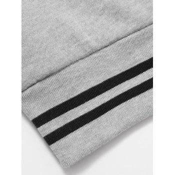 Elephant Print Crew Neck Stripe Spliced Flocking Sweatshirt - GRAY GRAY
