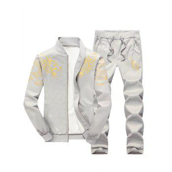 Zip Up Stand Collar Dragon Print Jacket and Pants Twinset