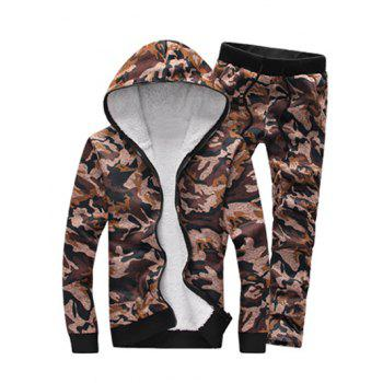 Zip Up Camouflage Flocking Hoodie and Pants Twinset - COFFEE M