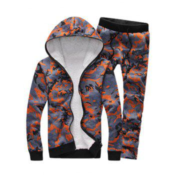 Zip Up Camouflage Flocking Hoodie and Pants Twinset - ORANGE 3XL
