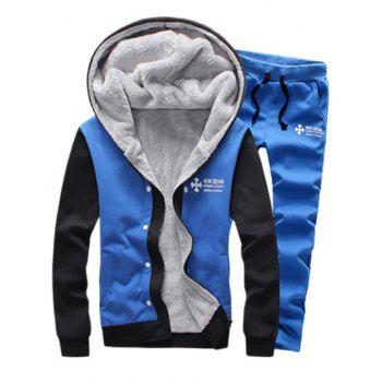Zip Up Color Block Plus Size Flocking Hoodie and Pants Twinset - SKY BLUE L