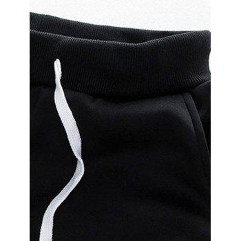 Zip Up Color Block Plus Size Flocking Hoodie and Pants Twinset - BLACK BLACK