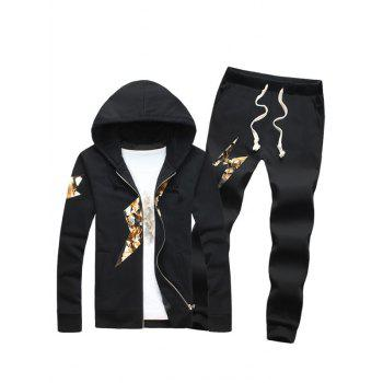 Zip Up Lightning Print Plus Size Flocking Hoodie and Pants Twinset