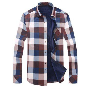 Long Sleeve Turndown Collar Checked Shirt