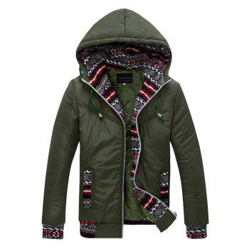 Buy Zipper Tribal Pattern Insert Hooded Jacket ARMY GREEN