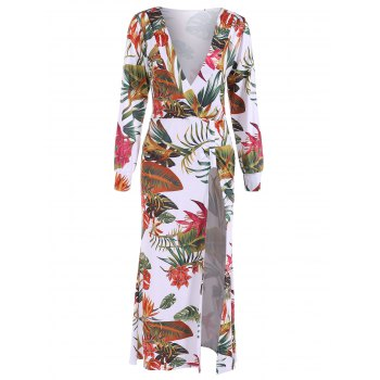 Low Cut Hawaiian Printed Maxi Dress
