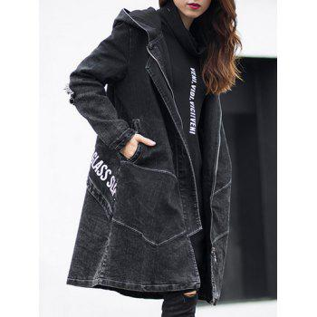 Dark Wash Long Denim Coat Jacket With Hooded