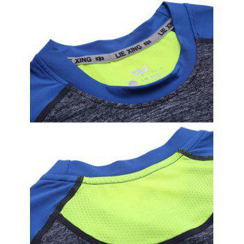 Color Block Spliced Raglan Sleeve Quick Dry Fitness T-Shirt - GRAY/BLUE XL