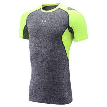 Color Block Spliced Raglan Sleeve Quick Dry Fitness T-Shirt