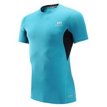 Color Block Spliced Short Sleeve Quick Dry Fitness T-Shirt - SKY BLUE SKY BLUE
