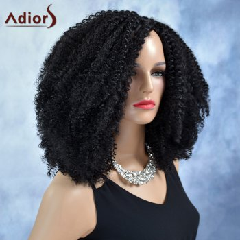 Adiors Curly Middle Parting Long Synthetic Wig - BLACK