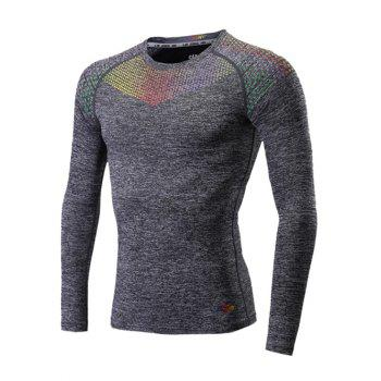 Colorful Square Print Splicing Raglan Sleeve Quick Dry Fitness T-Shirt