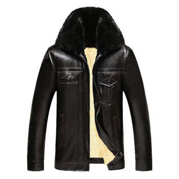 Faux Fur Collar Pockets Design PU Leather Flocking Jacket