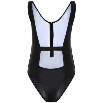 Backless Zipper One Piece Tight Swimsuit
