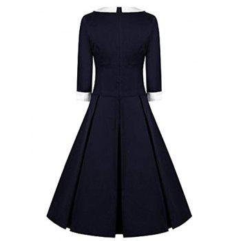 High Waisted Fit and Flare Vintage Dress - PURPLISH BLUE M