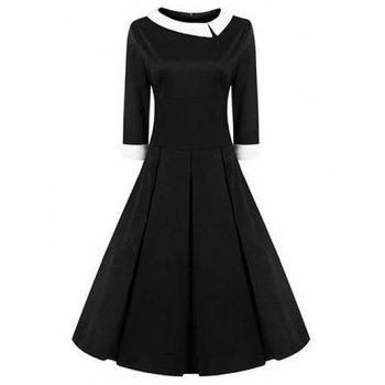 High Waisted Fit and Flare Vintage Dress - BLACK BLACK