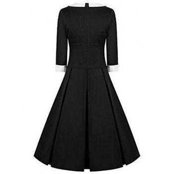High Waisted Fit and Flare Vintage Dress - BLACK L
