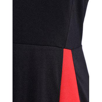 Vintage Color Block Long Sleeve Pin Up Dress - BLACK L
