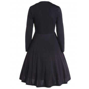 Vintage Color Block Long Sleeve Pin Up Dress - BLACK BLACK