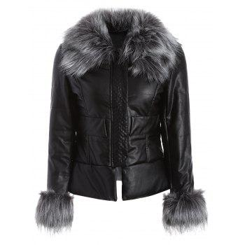 PU Leathr Faux Fur Quilted Jacket