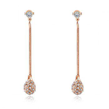 Rhinestone Ball Long Drop Earrings