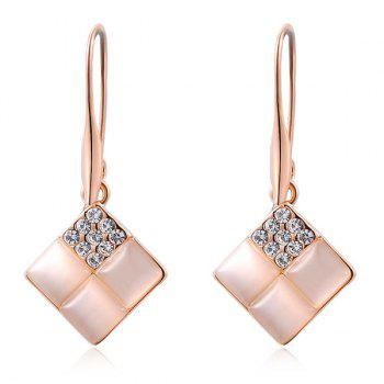 Artificial Opal Rhinestone Geometric Earrings