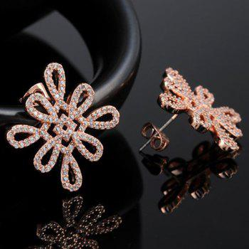 Rhinestoned Chinese Knot Earrings -  ROSE GOLD
