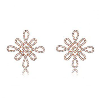 Rhinestoned Chinese Knot Earrings - ROSE GOLD ROSE GOLD