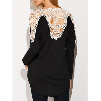 Skull Lace Insert Backless Asymmetric Cardigan