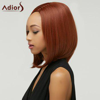 Faddish Women\'s Medium Straight Side Parting Capless Auburn Brown Synthetic Wig - AUBURN BROWN