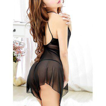 Halter Asymmetric See-Through Babydoll With T-Back - BLACK ONE SIZE