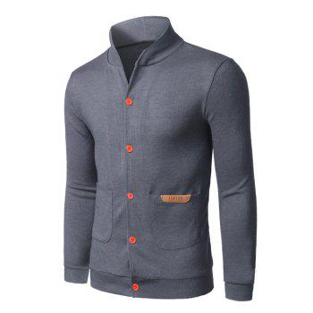 Pocket Front Stand Collar Button Up Plain Cardigan