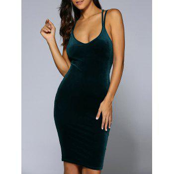Criss-Cross Velvet Bodycon Slip Dress