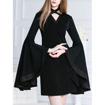 Butterfly Sleeves Chocker Black Mini Dress - BLACK 2XL