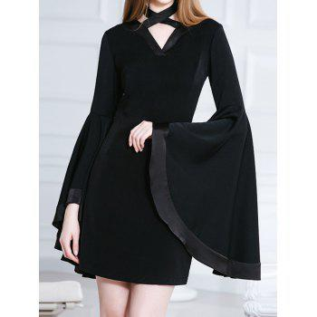 Butterfly Sleeves Chocker Black Mini Dress - L L