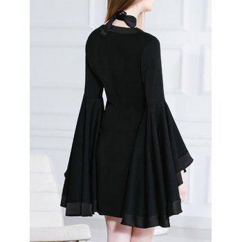 Butterfly Sleeves Chocker Black Mini Dress - M M