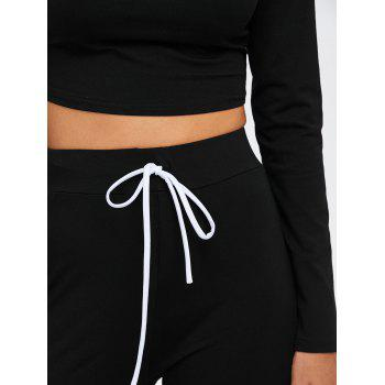 Long Sleeve Crop Top and Drawstring Pants Twinset - XL XL